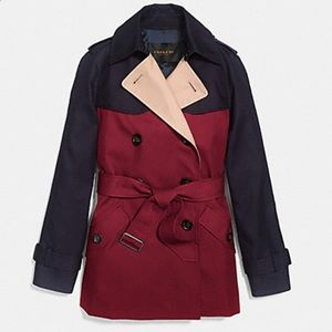 COACH COLORBLOCK SHORT TRENCH
